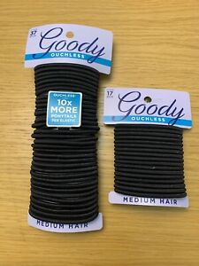 GOODY OUCHLESS No Metal Hair Ties Elastics Pony Tail 54 Count Black