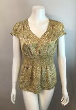 Stunning Banana Republic Petite Yellow Floral Puff Sleeve V-Neck Top Size MP