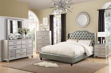 Bedroom Silver Faux Leather Full Size Bed 4pc Set Dresser Mirror Nightstand New