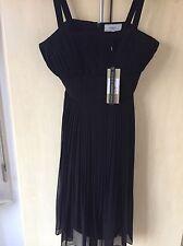 Coast Designer Black Chiffon Pleated Dress Size 14, New