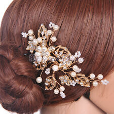Luxury Jewelry Diamante Bridal Crystal Hair Comb Hairpin Clip Headpiece Gold NEW