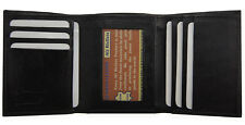 Mens  Slim Trifold Genuine Leather Wallet Credit Card Window ID License Black