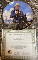 "John Wayne Spirit of the West Collector Plate Franklin Mint 8 1/4"" Vintage COA"