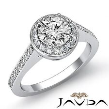 2ct Round Diamond Halo Pave Engagement Filigree Ring GIA F VS2 14k White Gold