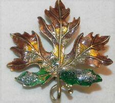 Glitter Maple Leaf Pin Green Gold Enamel Confetti Brooch