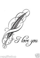 Elegant Hand-drawn Typographic Temporary Tattoo - I Love You