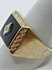 Mens 10k Solid Yellow Gold 14x12mm Black Onyx w/ Diamond Accent Ring Size 11