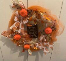 Maple Leaves Pumpkin Wreath Thanksgiving Harvest Halloween Party Door Home Decor