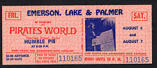 1971 Emerson Lake & Plamer Humble Pie Unused Concert Ticket Pirates World Dania