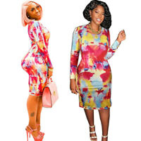 Women Long Sleeves Colorful Print Casual Club Party Bodycon Mini Dress