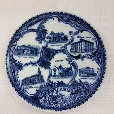Early Hanford California Historic Buildings Souvenir Flow Blue Plate Kelly & Co