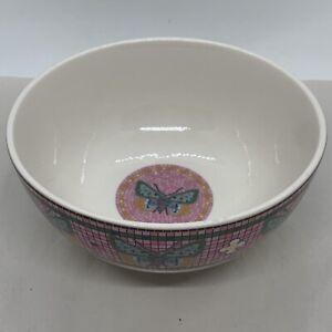 New Anthropologie Bistro Tile Garden Bowl Pink Gold Paris Cafe Cereal Butterfly