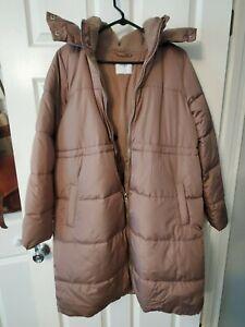 Small maternity winter coat, faux fur, hooded, fleece lining, knee length