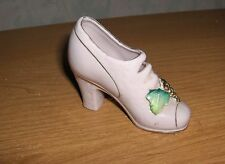 Vintage Pink Porcelain Closed Pump Shoe Figurine Ceramic Gold Grapes & Leaves