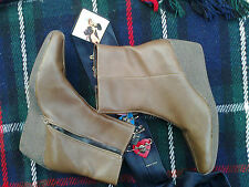 Womens Brown Wedge Ankle Boots UK 8.5 EU 41.5  ~ Vintage Retro Dunnes Shoes