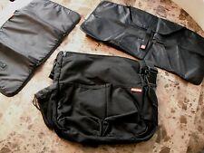 black SKIP HOP BLACK DIAPER BAG stroller clip on snap TOTE changing station