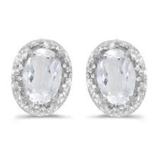 10k White Gold Oval White Topaz And Diamond Earrings