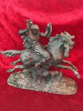 Vintage Antique Spelter  Mongol Warrior On Horse Statue Unique detail wood base