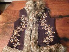 Womens INC International Concepts brown faux leather fur vest jacket Size Med
