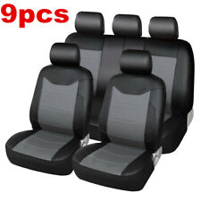 9pcs Luxury Decor Interior Accessories PU Leather Car Seat Covers Black/Gray