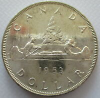 CANADA 1953 $1 SILVER EXTRA FINE NO SHOULDER FOLD ONE DOLLAR COIN - A