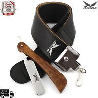 Straight Edge Wet Beard Shaving Cut Throat Razor Set + Leather Belt Strop Kit