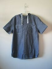 CONVERSE ALL STAR TOP Denim Short Sleeve Hoody Shirt FESTIVAL Sz L NEW