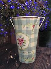 vase country vintage shabby chic container gingham farmhouse home decor gift