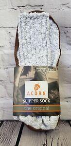 Acorn Slipper Socks Mens Small 6-7 Gray leather bottom Cotton Twist NIB