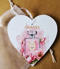 Chanel Coco Mademoiselle Theme Heart Plaque & Organza Pouch - Lovely Gift 15cm
