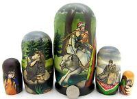 Russian nesting dolls 5 Babushka Ivan Tsarevich Grey Wolf Alionushka VASNETSOV