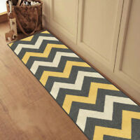 Custom Size Stair Hallway Runner Rug Rubber Back Non Skid Grey Yellow Chevron