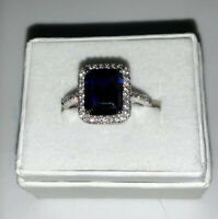 Emerald-Cut Lab-Created Blue and White Sapphire Ring in Sterling Silver Sz 7