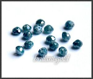 Diamanten Rund blau; 100% echte, natürliche & gelochte Diamant Kugeln
