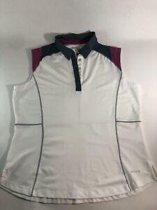 Annika Cutter & Buck Sleeveless Golf Top Size L Womens White Grey Purple