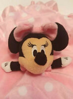 Disney Baby Minnie Plush Pink Crinkle Ears Dots Security Blanket Satin Lovey Toy
