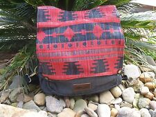 Red Charcoal Tribal Hippie Bohemian Surf Retro Funky Denim Bag/Backpack