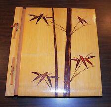 "Vintage Photo Album Scrapbook w/ Bamboo Decoupage 12"" x 13"" 4+lbs Chiyoda Japan"