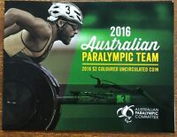 2016 $2 Colour Paralympic coin x 5 RAM Coin folders