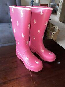 POLO RALPH LAUREN Pony Tall Rain Boots SZ 2 PONY PINK Girls  CHILD