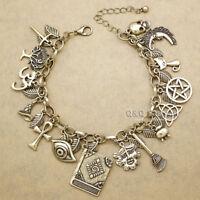 Myth Fairytale Lucky Charms Cross Leaf Moon Face Celtic Cat Cuff Bangle Bracelet