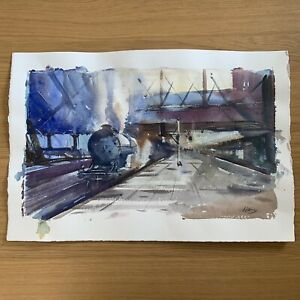 Original Watercolour Painting Signed By Steve Hall Landscape Steam Train Station