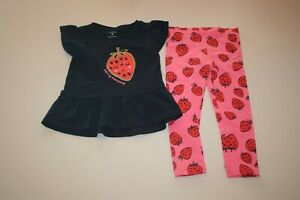 NEW Carter's 2 Piece Girls Set 3T 4T 5T Strawberry Tunic Top & Leggings Outfit