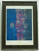 Excellent Mid Century Abstract Expressionist Lithograph Titled Paris 1967 Signed