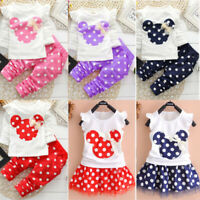 Kids Baby Girls Summer Tracksuit T-shirt Tops Pants Tutu Tunic Dress Outfits Set