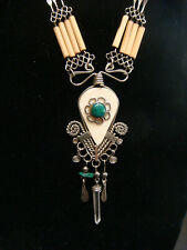 Wood & Quartz Bead Necklace Vintage Handmade Native American Silver Turquoise