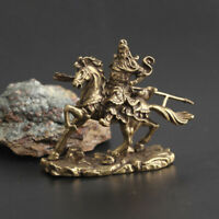 Chinese Exquisite Old Antique Collectible Brass Riding guan gong Pendant statue