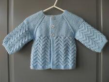 Handmade knitted baby boy light blue seamless long sleeved cardigan, 0-3 months