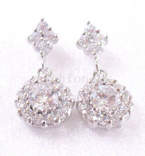 Clear CZ White Gold Plated Birthday Wedding Xmas Luxury Wedding Sparkle Earrings