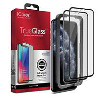 Black iPhone 11 Pro Max Full Coverage Tempered Glass Screen Protector Two Pack�
